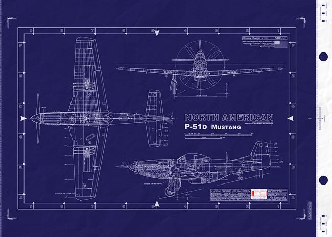 North american p51 mustang wwii usaaf united states for Engineering blueprints